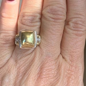 LAGOS 2 tone silver/gold cushion top ring size 6